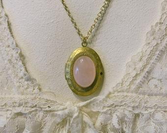 Vintage Locket Rose Quartz Pendant Locket Necklace Keepsake Locket Gift for Her Pendant Necklace Pink Gem Necklace