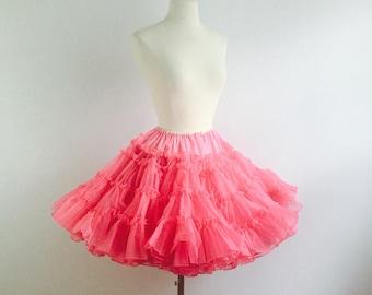 Vintage 50s hot pink petticoat - 1950s hot pink full skirt crinoline - 50s swing dance petticoat