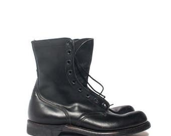 SALE 11 XN | NOS 1960's Military Boots Dated 1966 Black w/ Light Tread Soles