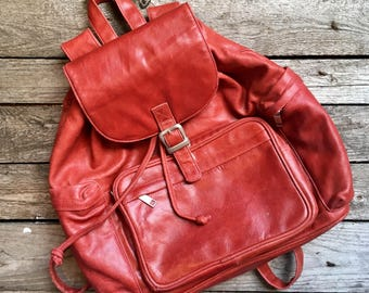 90's Vintage Wilson's Leather Red Backpack