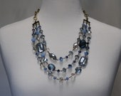 Bib Necklace, Layered Necklace, Multi strand Blue Crystals Necklace, Gift for her, Best friend gift