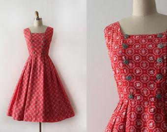 vintage 1950s LANZ dress // 50s red novelty print cotton day dress