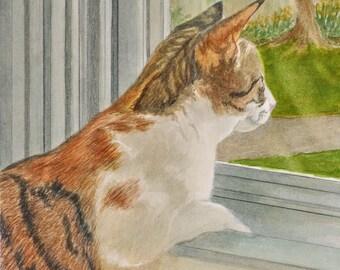 Orange Tabby Print, Tabby Cat Art, Calico Cat, Orange Tabby Watercolor, Orange Cat Art, Cat Art, Cat Watercolor by P. Tarlow