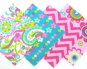 Quilt Square Clearance Grab Bag in Pink and Aqua Flowers and Matching Prints 50 Squares