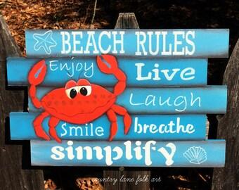 wooden beach sign, beach wall decoration,friend gift,beach house decor,beach theme decor, beach wall art,primitive home decor, crab decor