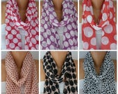 ON SALE-- SALE - Polka Dots Festival Scarf,Spring Chiffon Scarf,Cowl Scarf,Christmas Gift,Bohemian,Gift For Her Fashion Accessories best sel
