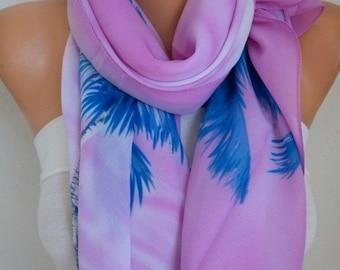ON SALE --- Lilac Palm & Floral Chiffon Scarf, Summer Shawl,Pareo,Big Size,Women Scarves Gift Ideas For Her Women Fashion Accessories,Birthd