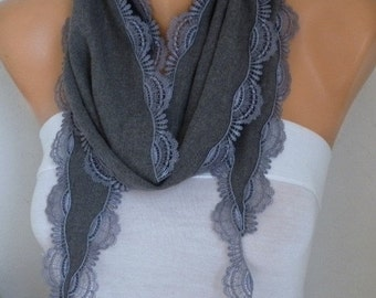 ON SALE --- Gray Pashmina Scarf - Fall Scarf,Cotton Scarf -Women Scarf - Cowl,Bridesmaid Gift,Gift Ideas For Her,Women Fashion Accessories -