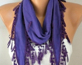 ON SALE --- Purple Pashmina Scarf,spring,wedding scarf,gift for her,Cowl Scarf with Lace Edge - fatwoman