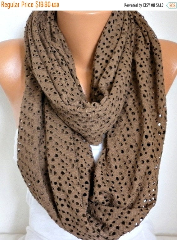 ON SALE --- Tricot Filet Infinity Scarf Spring Summer Cowl Circle Loop Oversized Gift Ideas For Her Women Fashion Accessories Bridesmaid Gif