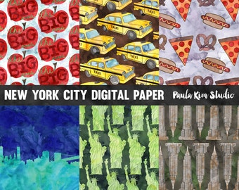 Watercolor Digital Paper, New York City Digital Papers Pack, Commercial Use