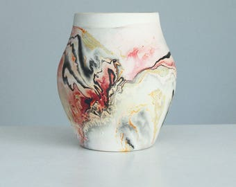 Vintage Nemadji Pottery Vase Pink Grey Red Orange Black, Marbelized Pottery