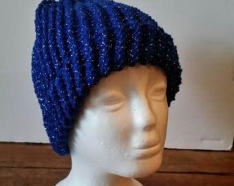 Blue Sparkle Messy Bun Beanie Hat, crochet, 12th man, nfl, football, warm, weather, cold, snow, messy bun hat, ponytail
