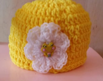 Yellow Frog Beanie Hat with flower, button, crochet, colorful, white, large flower, white, yellow, warm, weather, cold, snow, messy bun hat