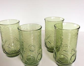 Vintage Anchor Hocking Avacado Heritage Hill Drinking Glass Set / Mod Green Glass Set