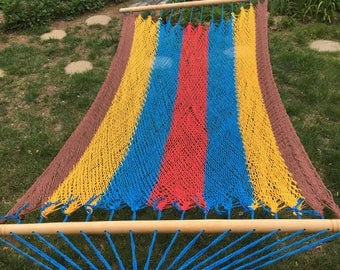 Double Hammock with Spreader Bars - Brown, Gold, Blue & Red