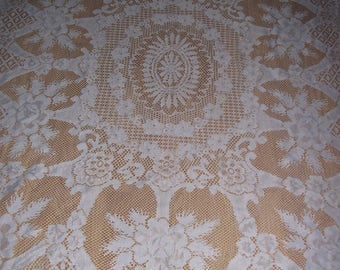 Vintage White Lace Tablecloth-50 x66 inches
