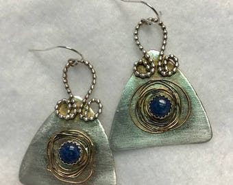 Handcrafted Sterling Silver Earrings with Natural Lapis Lazuli Cabochons