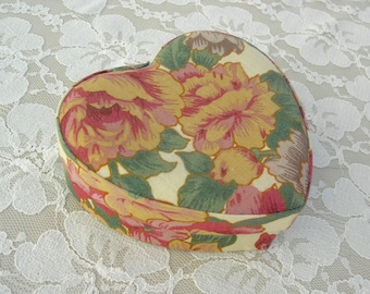 "Floral Heart Box, fabric-covered, for gift, jewelry, keepsakes, Valentine box, 4 1/4,"" small optional engagement ring box, 2"""