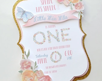 Girl's Spring Garden Birthday Invitation