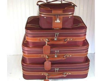 Retro Jaguar 4 Piece Matching Luggage Set - Free Shipping - Vintage Maroon Nylon with Saddle Trim Nesting Collection - 2 Pullman 2 CarryOn