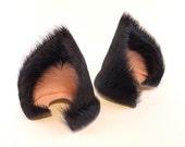 Sleek Black Fur Leather Cat Ears Nekomimi Cosplay Kitten Furry Goth Fantasy Fairy LARP Costume Pet Play