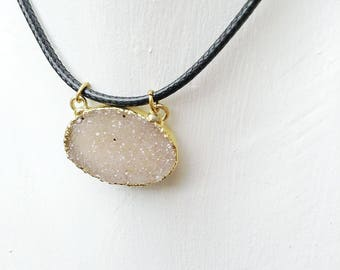 Drusy Druzy natural Druse from Uruguary Drusy necklace gold electroplated real untreated Drusy Jewelry