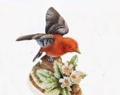 Vintage Bird Figurine, Scarlet Tanager, Andrea by Sadek 7703, Bird Decor, Collectible, Made in Japan, Home Decor, Shelf Decor