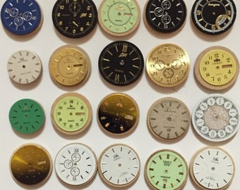 3 Fridge magnets made of repurposed watch parts (set of 3 in gift tin)