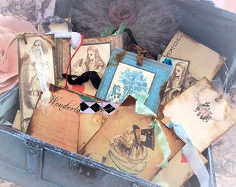 Alice In wonderland Chest Guest Book alternative Trunk country/ vintage/ cottage / Rustic /  Wedding 100 Tags