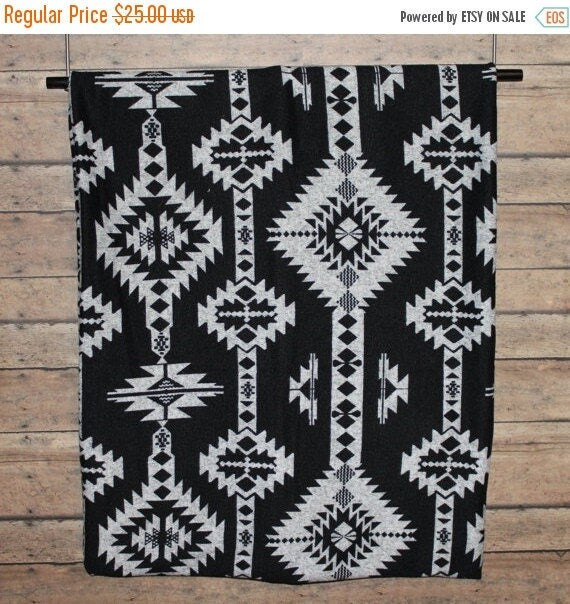"""Unisex Scarf Infinity Scarf Black and Gray Tribal Aztec Men's Women's SWEATER Knit Double Layer SOFT Warm 14"""" x 64"""" Loop Made in the USA"""