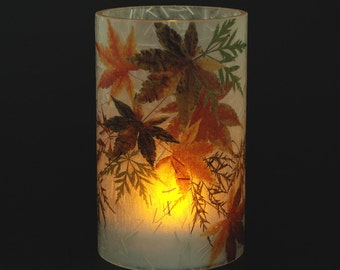 Japanese Maple Leaf electric candle hurricane.  1 small size with 1 free Electric Tea Light.  Fall leaf decor. Indoor. Outdoor. Soft light.