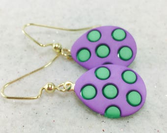 Easter Earrings, Easter Eggs, Easter Egg Earrings, Easter Jewelry, Easter Basket Gift Earrings, Colorful Purple and Green Easter Earrings