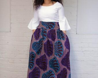 Wax Skirt Print, Vlisco Skirt, Maxi Skirt, African Print Skirt, High Waist Skirt