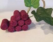 Maroon Grapes Cork Ornament