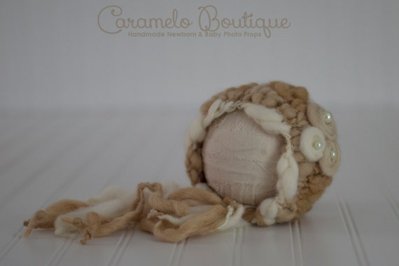 RTS Hand Spun Newborn Bonnet with Pearl Embellishment-Hand Spun Thick and Thin Newborn Bonnet-Natural Shades Thick and Thin Baby Girl Bonnet