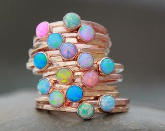 ROSE GOLD OPAL Stacking ring ~ Opal ring - Pink Gold Opal Ring - Gemstone Ring - October Ring - stacking gemstone ring