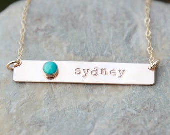 GOLD BAR BIRTHSTONE Necklace - gold bar necklace - birthstone necklace - stamped gold bar birthstone necklace - stamped gold bar necklace
