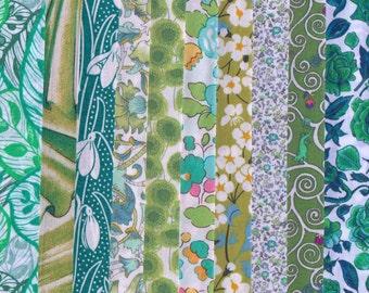 10 Liberty Tana Lawn fabric PIECES - each minimum 5'' x 5'' - GREEN
