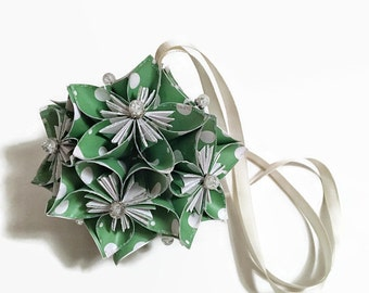 Green With White Polka Dot Kusadama Flower Ornament, Kusadama Flower Decor, Green Kusadama Flower, Home Decor, Green Decor