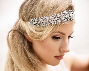 BOHO wedding hair accessory. Bohemian wedding hair accessory. Wedding hair vine wrap. Wedding hair vine. Hair vine headband ribbon.