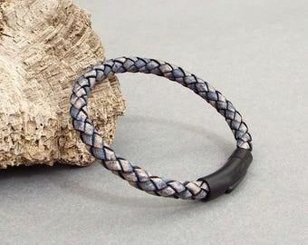 Mens Leather Bracelet, Boyfriend Gift, Blue Leather, Men's Leather Jewelry, Husband Gift, Braided Bracelet