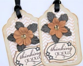 THINKING OF YOU Handmade Gift Tags Set of 2 (One of a kind)