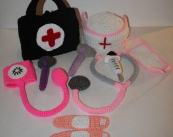 Child's Crocheted Doctors or Nurses Set
