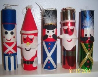 Vintage Hand Made Soldiers - Felt Nutcracker - Holiday Ornament - Paper Handmade Santa - Christmas Folk Doll Ornament - English British Doll