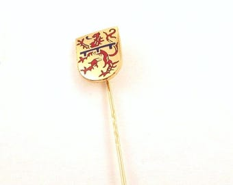 ON SALE Enamel Lion Crest Stick Pin - B.H. Mayer Pforzheim