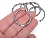 5 Gunmetal Hammered Rings, Circle Washer Connector Links, Hammered Metal Charms, 32mm, cho0210