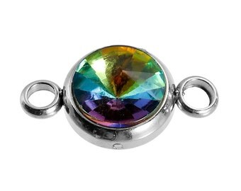 2 Stainless Steel Rhinestone Connector Link Charms, Rainbow AB Crystal in Center, 17x10mm, chs2676