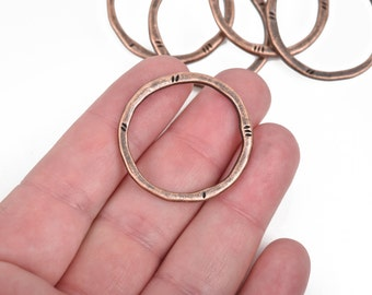 5 Copper Hammered Rings, Circle Washer Connector Links, Hammered Metal Charms, 32mm, chc0090