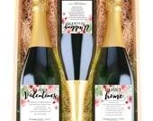 Custom WINE Label MILESTONES - Marriage Milestone Wine Labels- Whimsical Watercolor Flowers - Set of 6- Customizable - Trendy